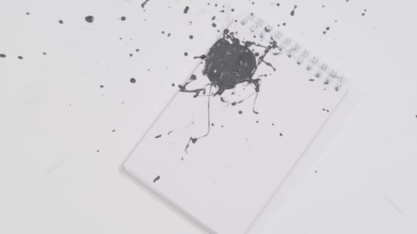 Drops of gray paint fall on a sheet of paper. Close up.
