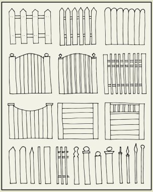 Hand drawn fences and poles