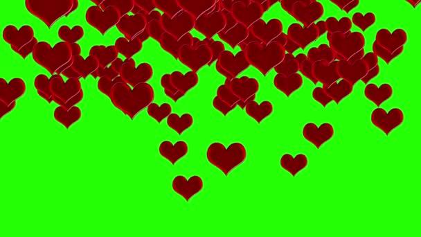 Červená srdce animace přechod na zelené obrazovce chroma klíč pro svatbu nebo Valentýna okázalost