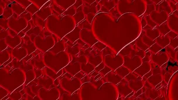 Explodierende rote Herzen Hintergrund für Hochzeit oder Valentinstag Animation