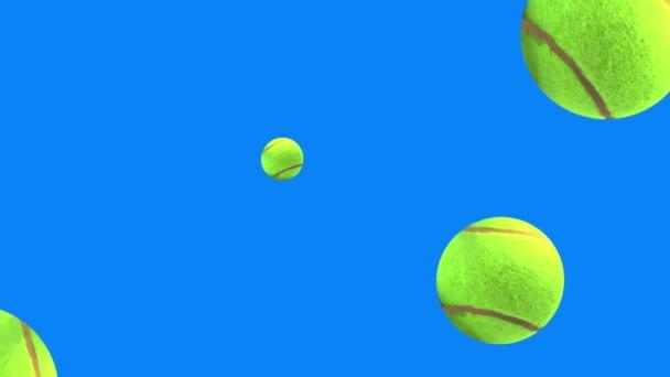 skupina animovaných tenisových míčků prvky na modré obrazovce chroma klíč bezešvé smyčky