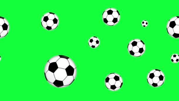 csoport animációs focilabda elemek zökkenőmentes hurok zöld képernyőn chroma kulcs