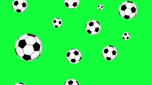 skupina animovaných fotbalových míčků prvky bezešvé smyčka na zelené obrazovce chroma klávesy