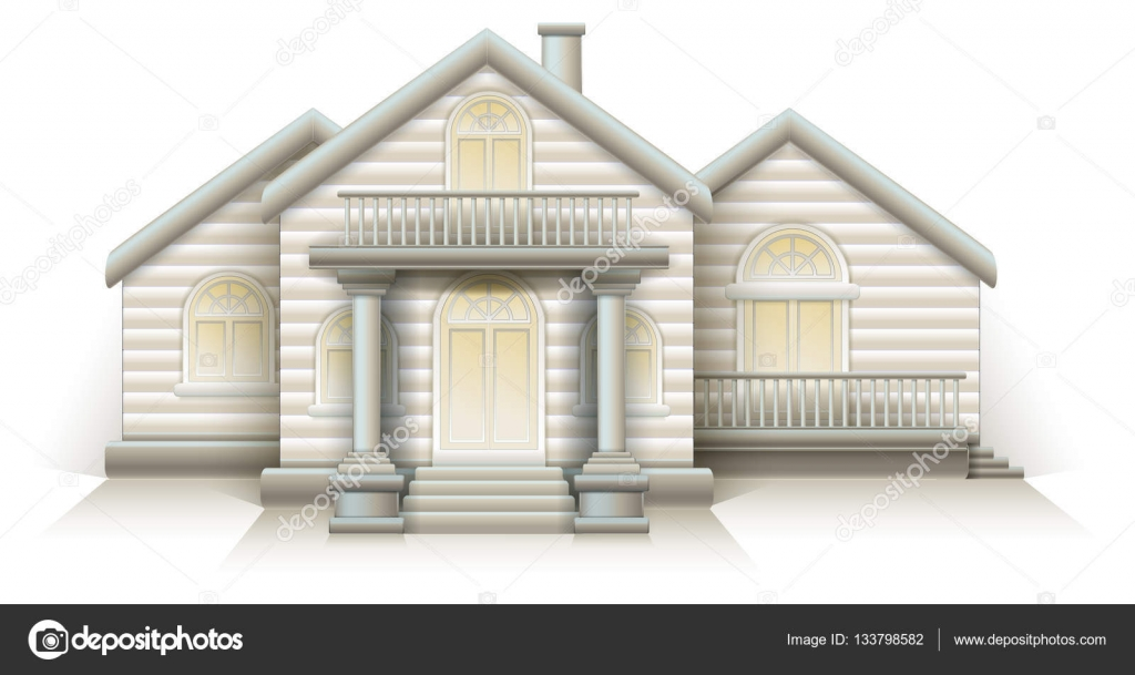 Wooden House Cottage In The Snow Christmas White Background House With Front  Door Columns And Stairs