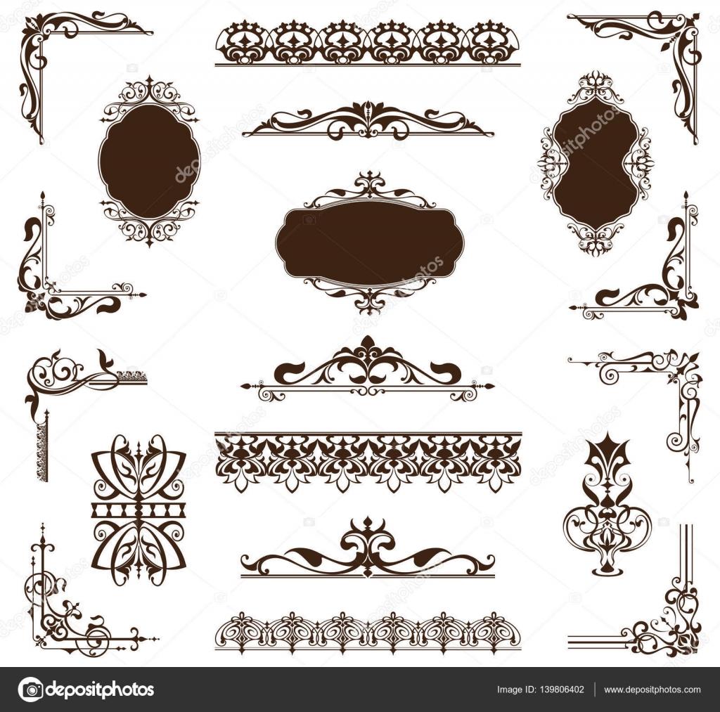 Elementos de diseño Art deco vintage ornamentos y bordes esquinas el ...
