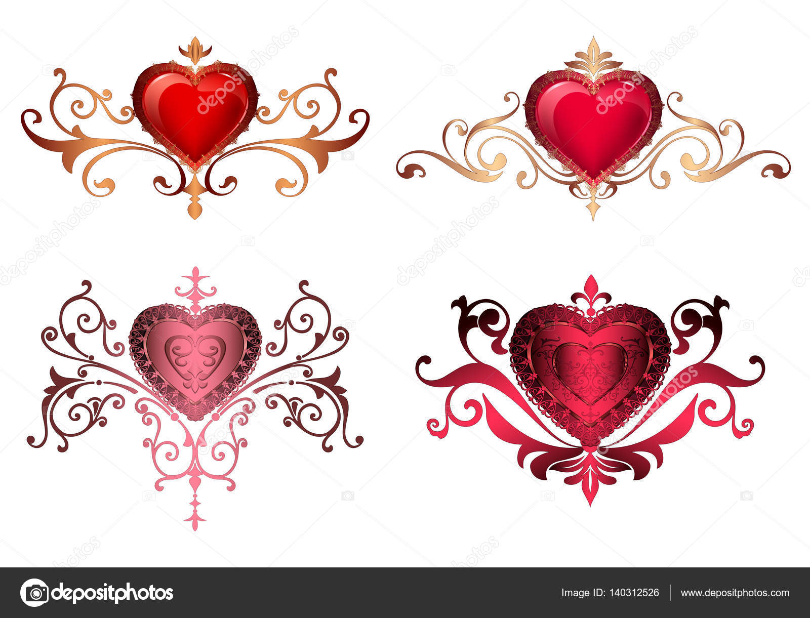 Ornamental borders with hearts Romantic red hearts with floral ...