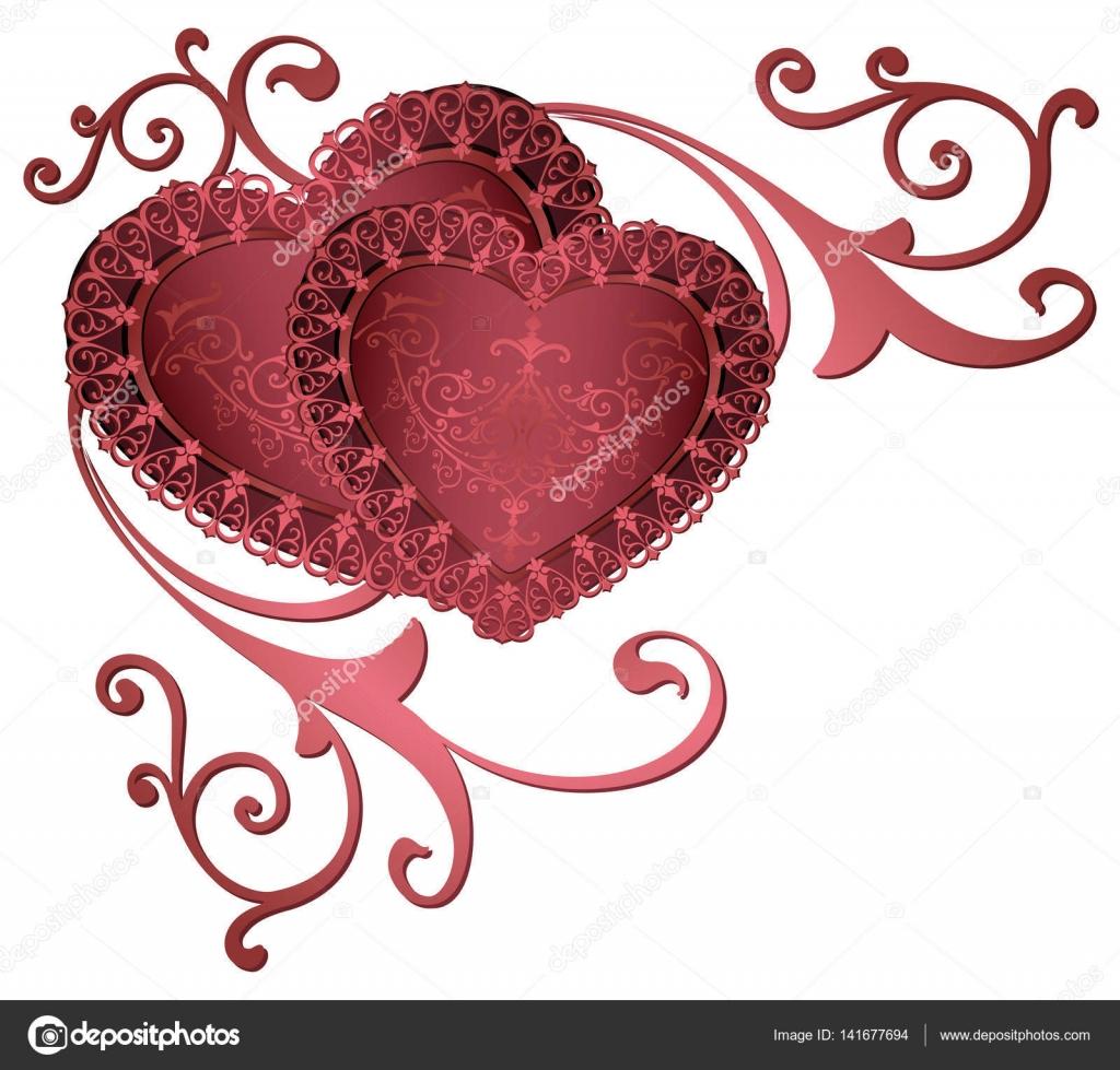 Fronteras de ornamentales con corazones. Corazones rojos románticos ...