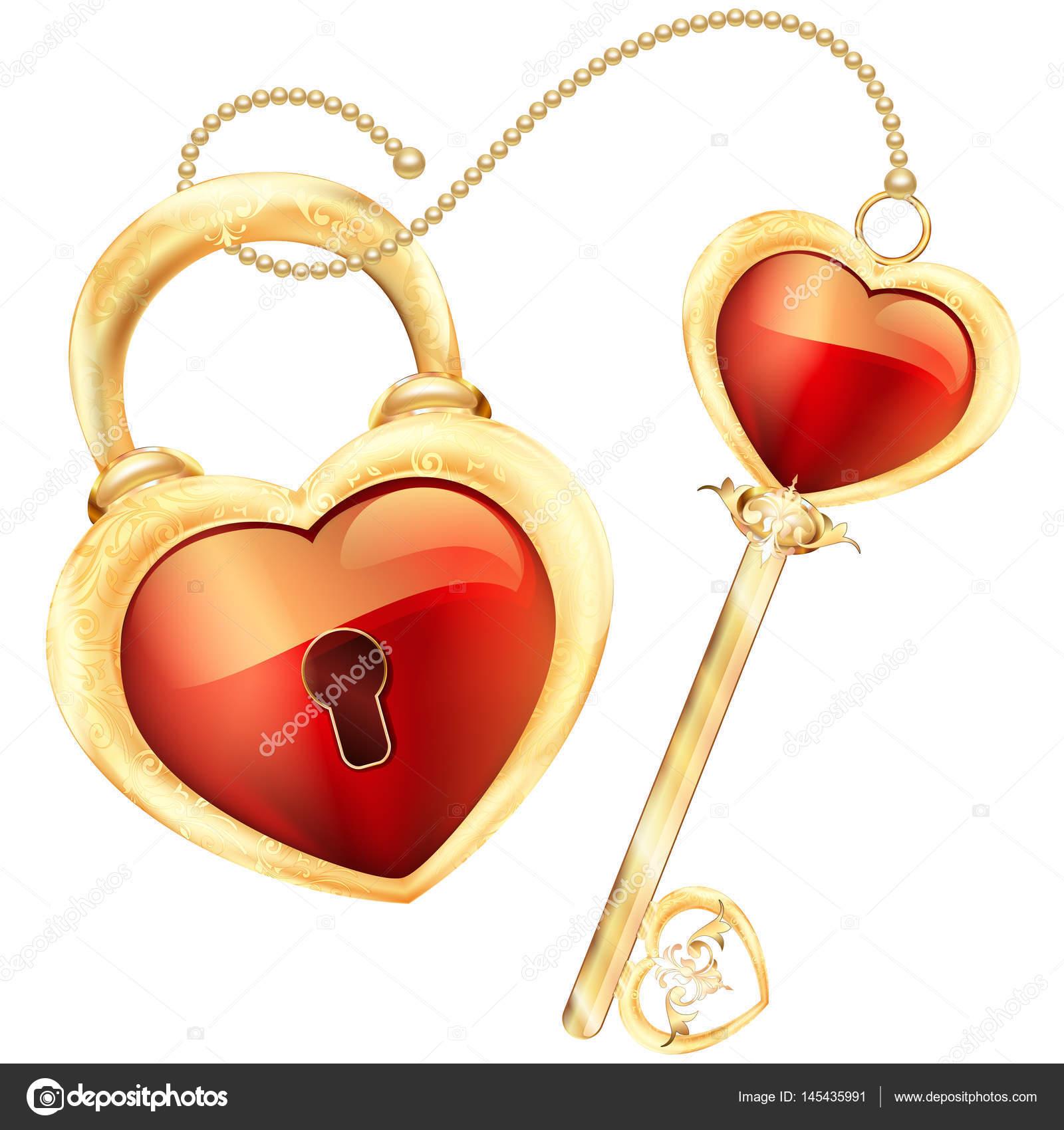 Llave en forma de corazón rojo en la ilustración de marco y ...