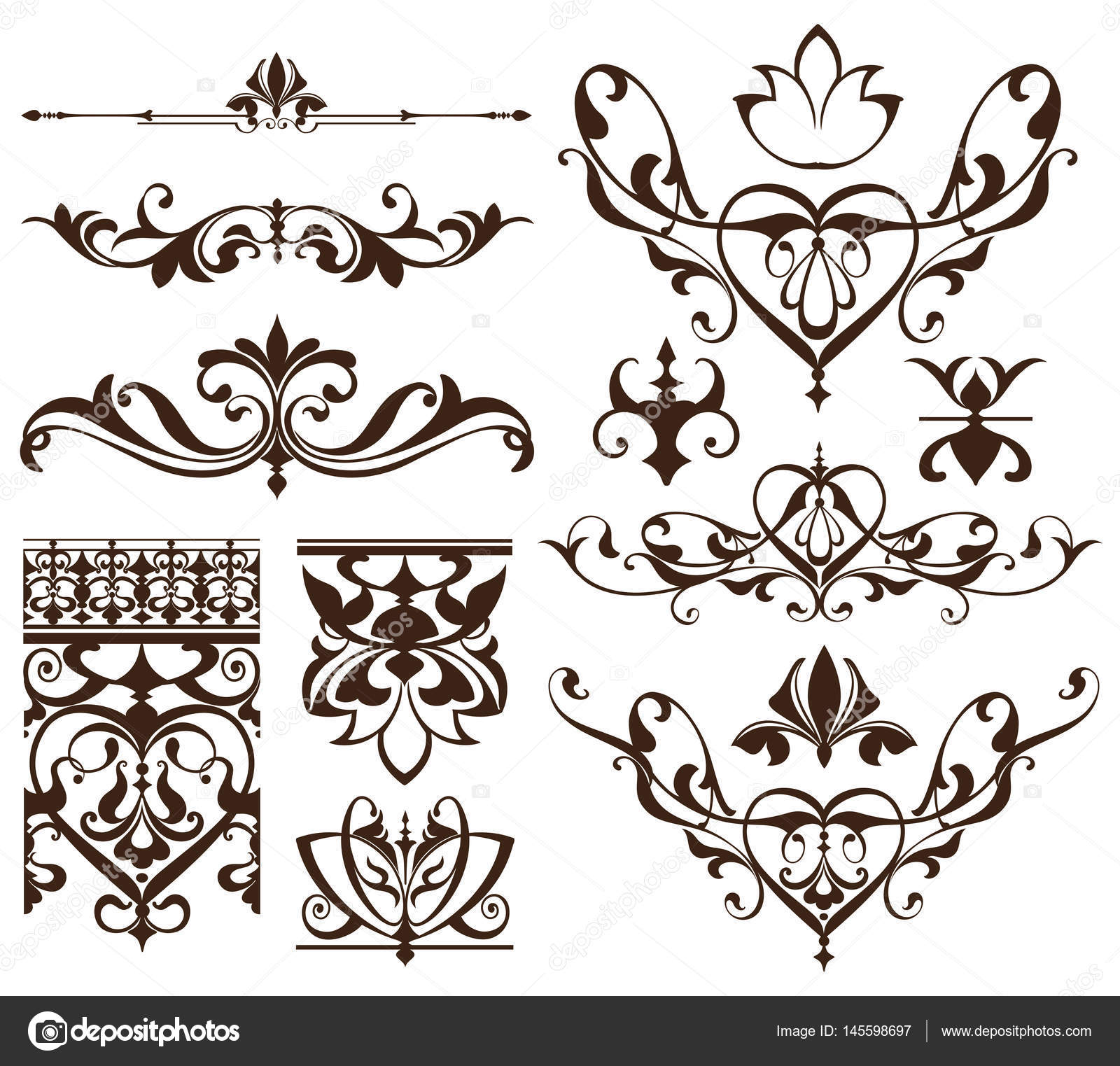 art deco design elements of vintage ornaments and borders corners of the frame isolated art. Black Bedroom Furniture Sets. Home Design Ideas