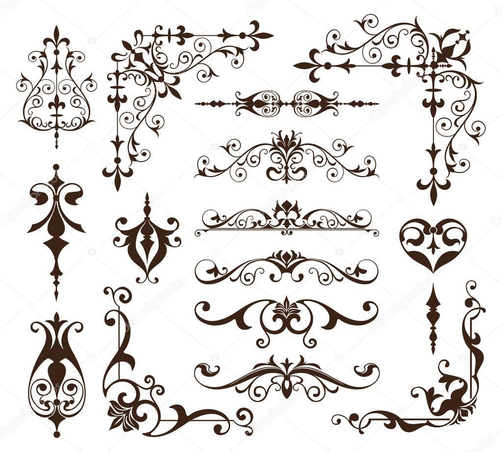 Ornamenti dell'annata progettare elementi ghirigori