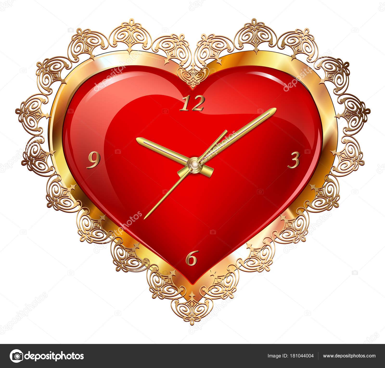 Corazón Rojo Con Reloj Marco Oro Con Adorno — Vector de stock ...