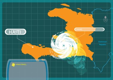 Haiti with a Hurricane making a landfall at capital Port-au-prince . Editable Clip Art.