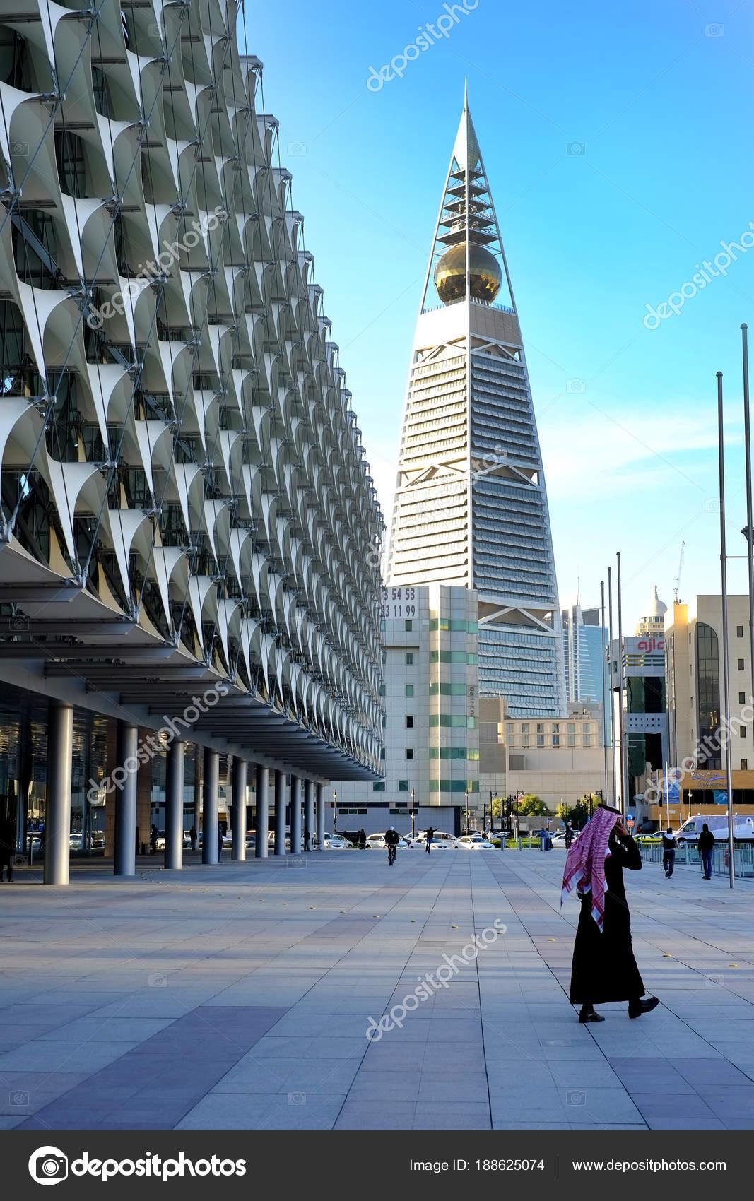 January 2017 Riyadh Saudi Arabia Man Walks Nearby Saudi