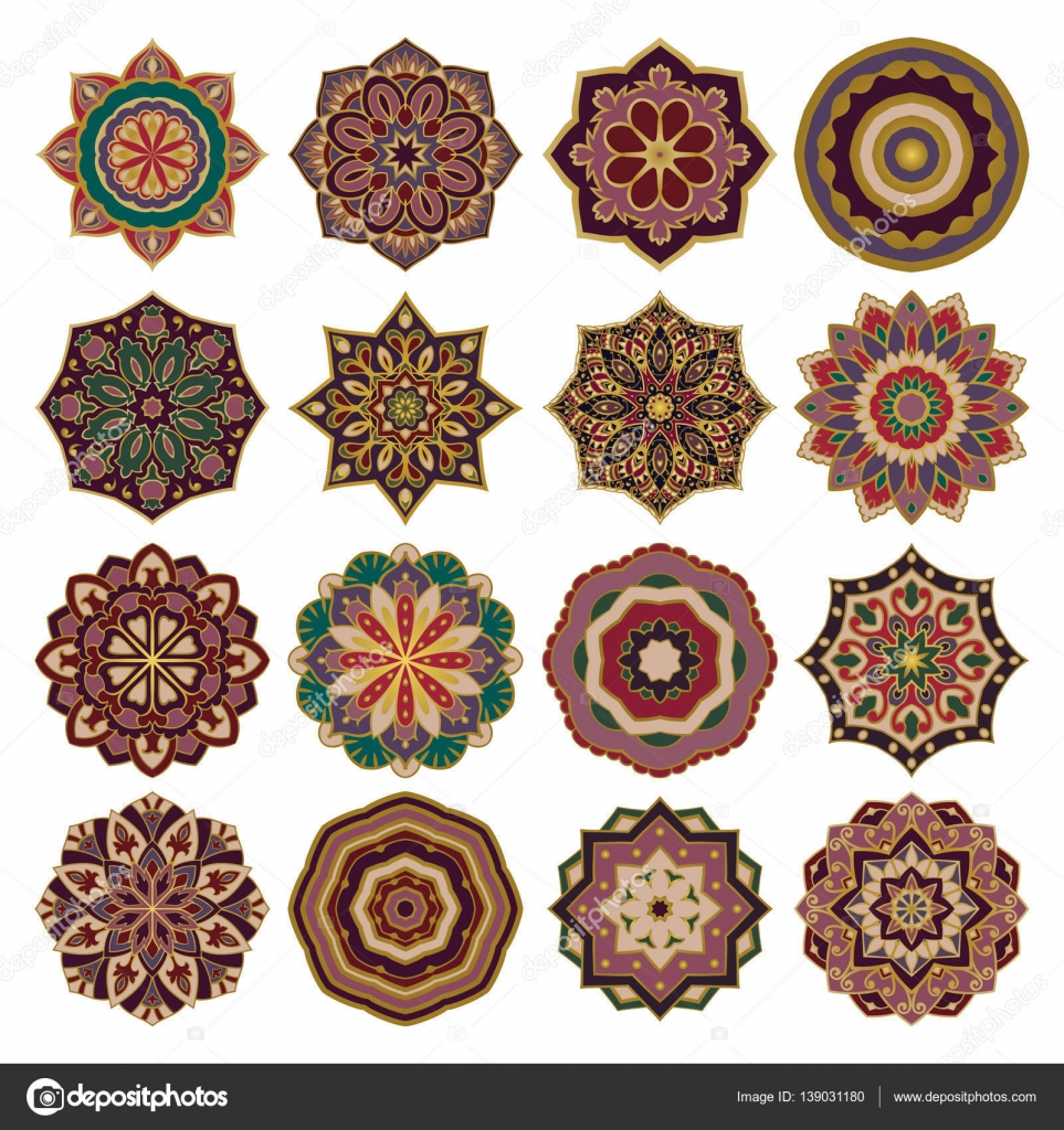 conjunto de mandalas coloridas — Archivo Imágenes Vectoriales ...