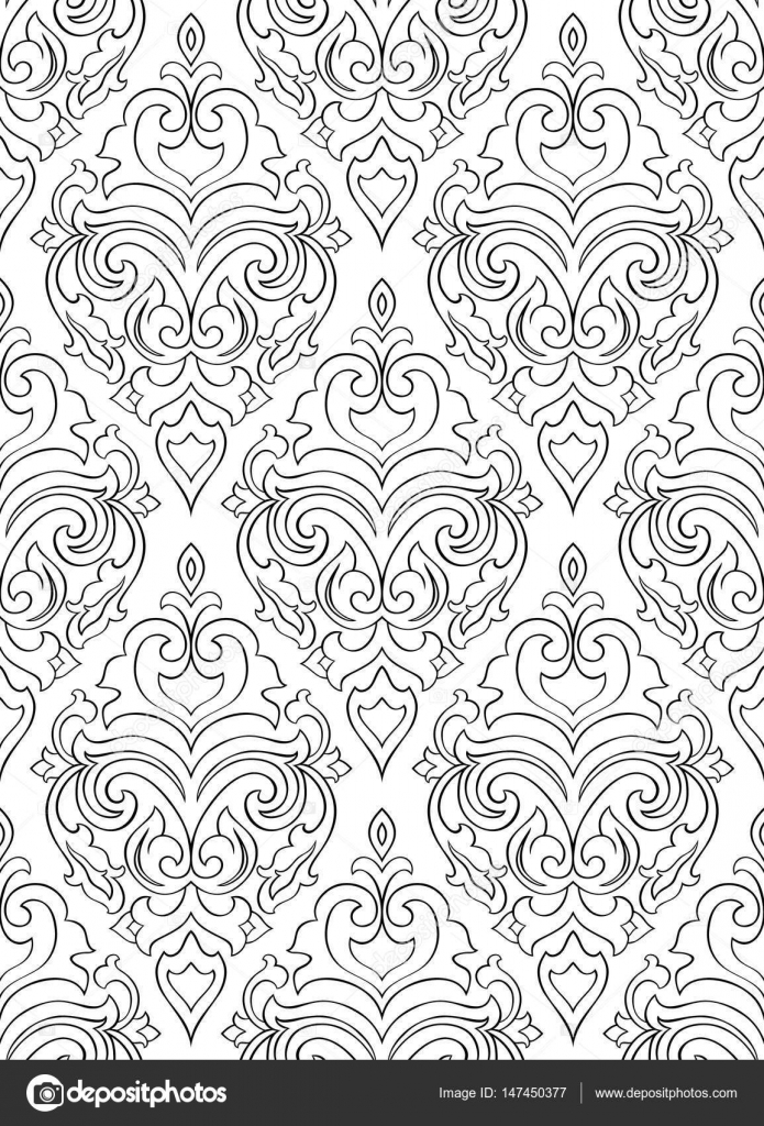 Pattern With Damask For Wallpaper Stock Vector Matorinni 147450377