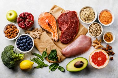 Balanced diet Organic Healthy food Clean eating selection Including Certain Protein Prevents Cancer: fish, meat, fruits, vegetables and cereal