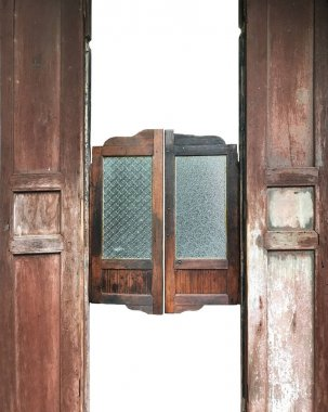 Old vintage wood winging doors