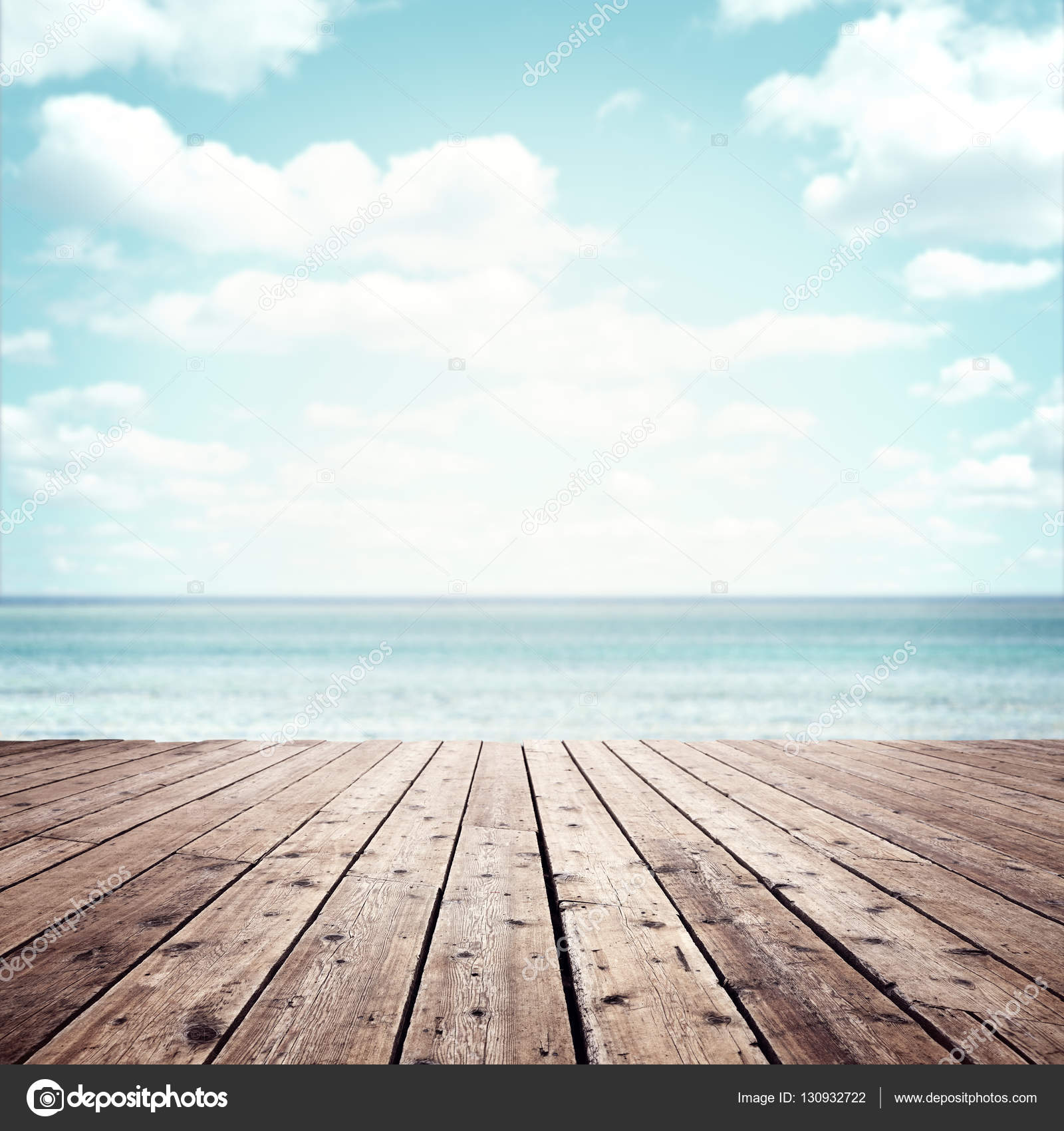 Wood Floor On Beach Sea And Blue Sky For Background Stock: Stock Photo © BrianAJackson