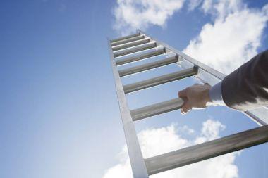 Businessman climbing Ladder of success