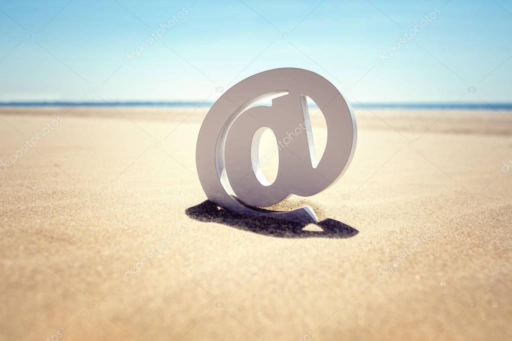 Email at symbol in the sand