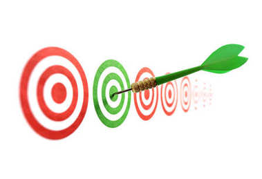 Green dart in target concept for accuracy, accomplishment and business success stock vector