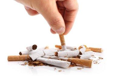 Man refusing cigarettes concept