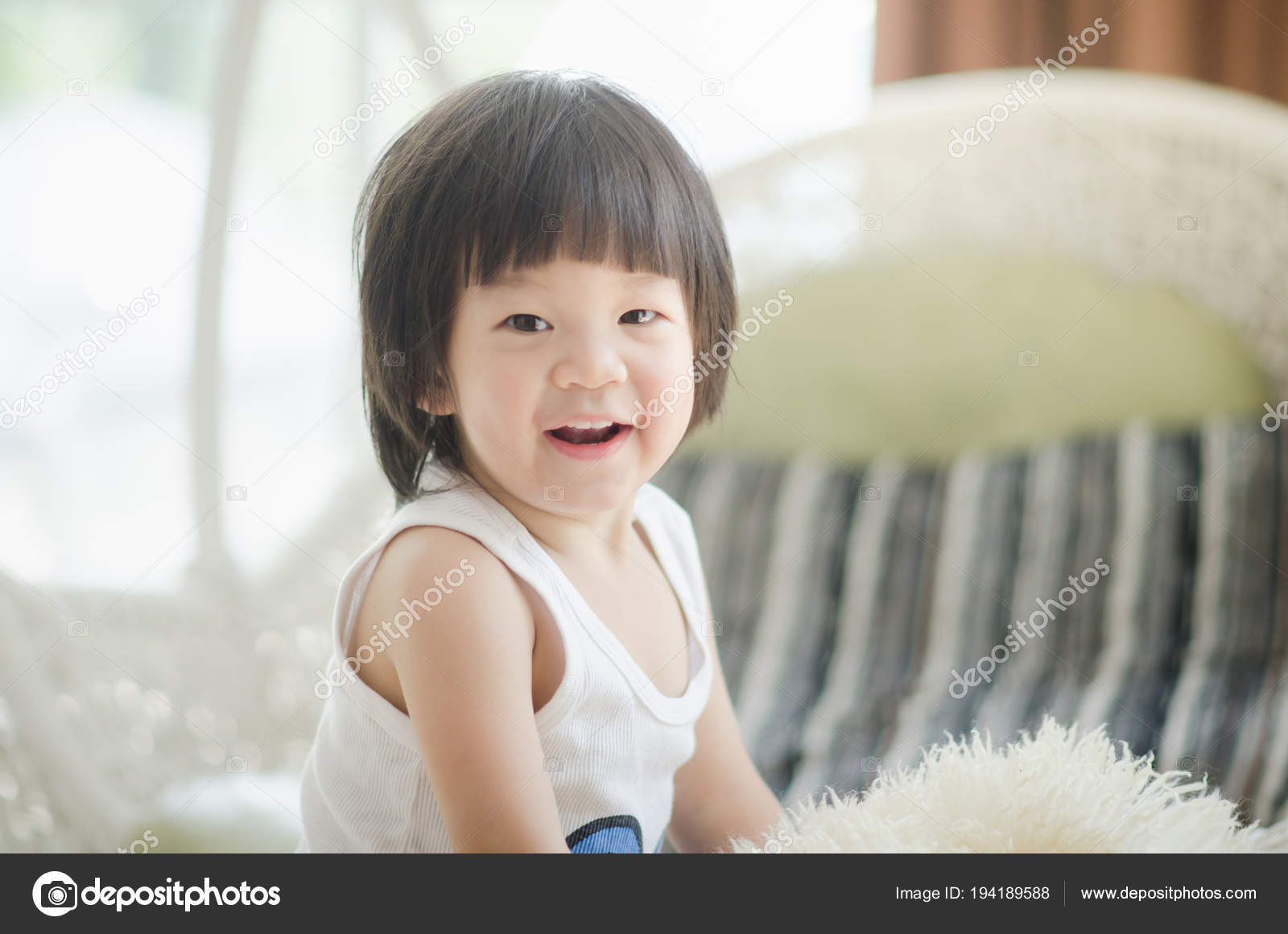closeup photo cute asian baby expression — stock photo © lufimorgan