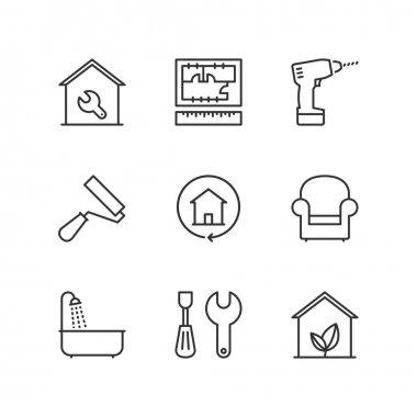 Line icons. Home improvement. Flat symbols