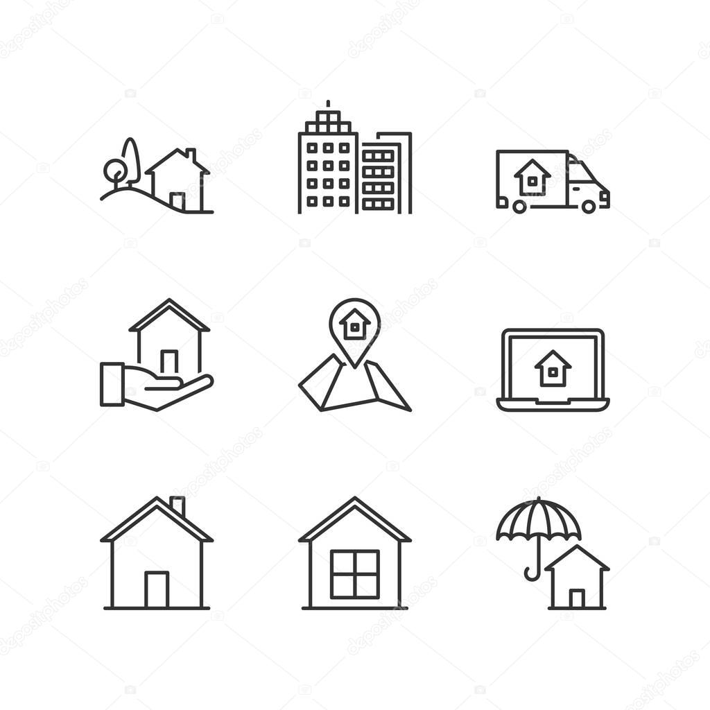 Thin line icons real estate stock vector spiralmedia 129739610 real estate stock vector biocorpaavc Image collections