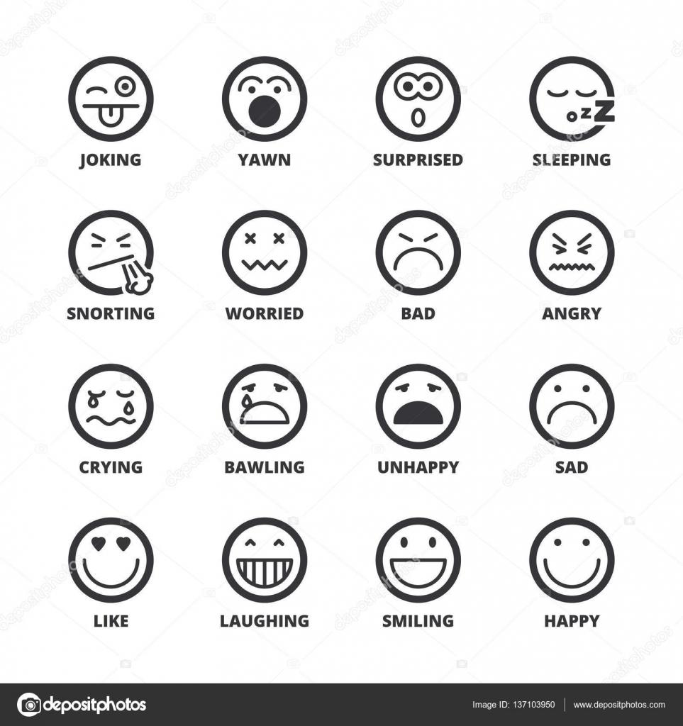 Emoticons Flat Symbols Black Stock Vector Spiralmedia 137103950