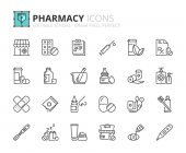 Outline icons about pharmacy