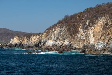 Turquoise ocean a sunny day in huatulco mexico