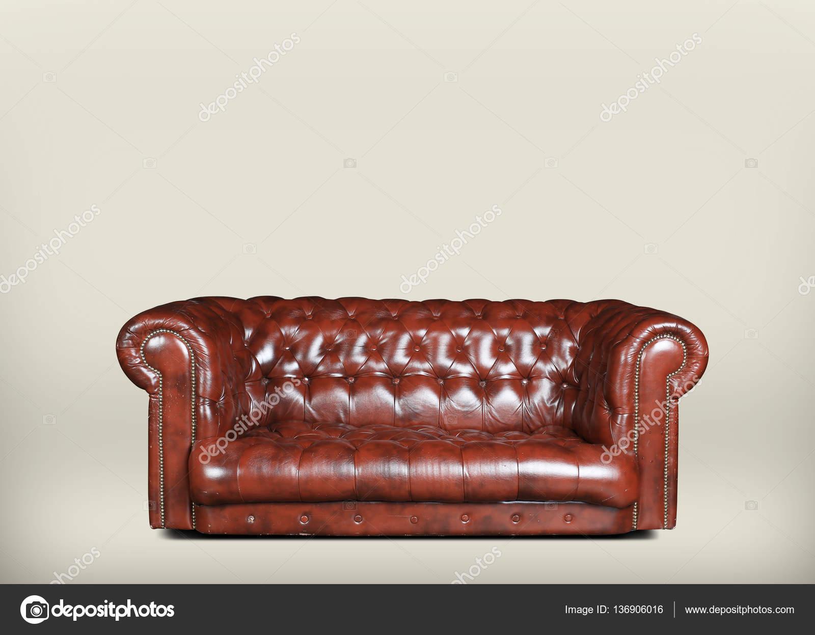 Ruime Leren Bank.Ruime En Comfortabele Bruine Lederen Bank Stockfoto