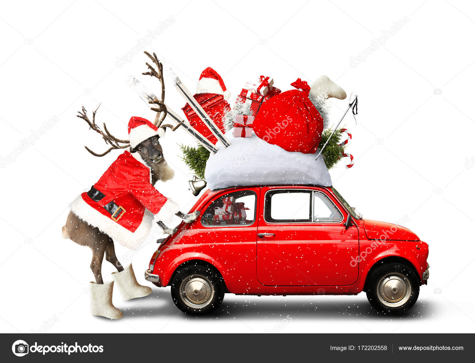 Christmas Car Santa Claus Stock Photo C Dorian2013 172202558