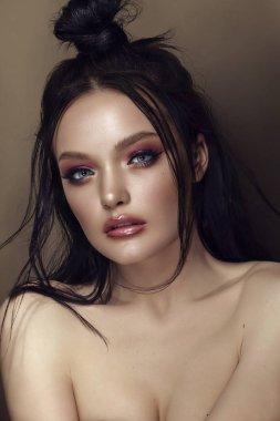 Fashion Stylish Beauty Portrait. Beautiful Girls Face Close-up. Hairstyle. Professional Makeup. Make-up. Vogue Style Woman