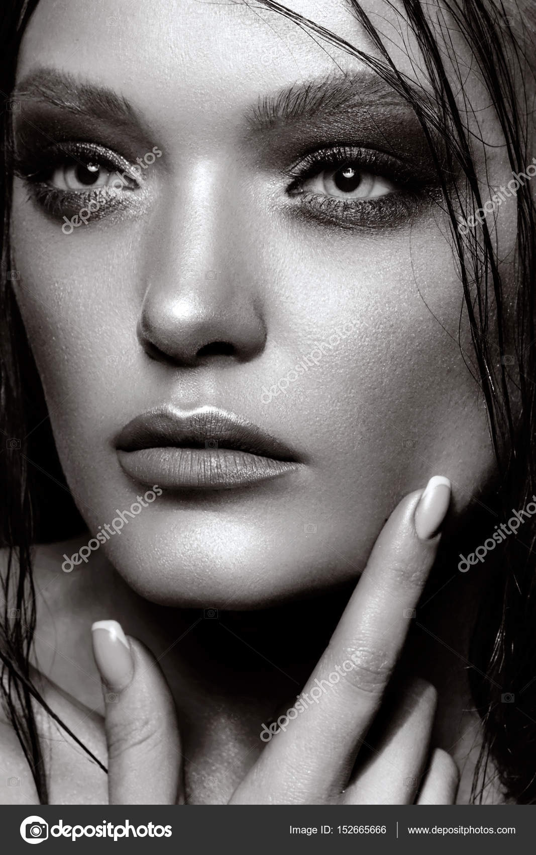 Fashion stylish beauty portrait beautiful girls face close up hairstyle professional makeup make up vogue style woman black and white portrait