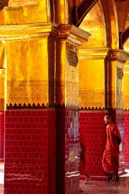 Mandalay, Myanmar - Nov 11, 2019: Mahamuni Pagoda in Mandalay, Myanmar