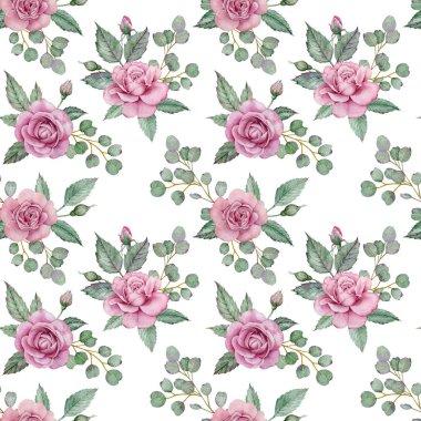 "Картина, постер, плакат, фотообои ""Seamless floral pattern with pink roses and green leaves of eucalyptus. Watercolor illustration."", артикул 324678262"