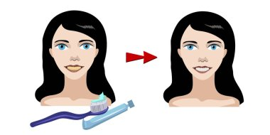 Smiling girl, how to brush your teeth. Yellow teeth become white and clean
