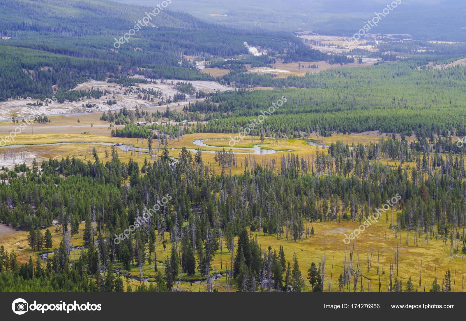 Parque Nacional De Yellowstone Usa Y Manantiales Geotermicos Fotos
