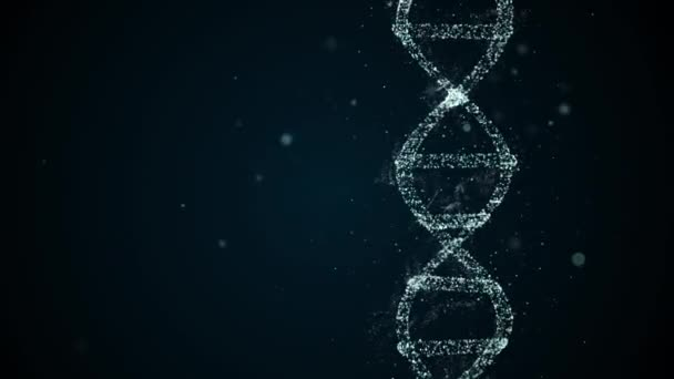 Abstract digital DNA molecule visualisation video shimmering over dark-blue background with bokeh particles around.