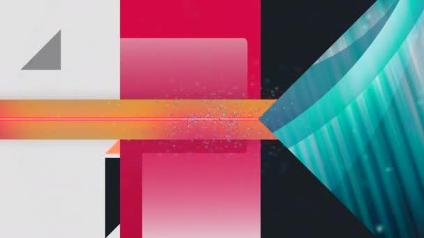 Abstraktní geometrické tvary pozadí s třpytivými částicemi vznášející se ve středu barevné polygonální kompozice.