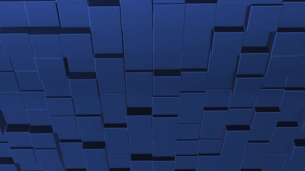 Abstract background with blue wall of moving cubic surface.