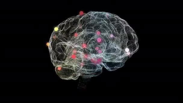 Abstract rotation of human brain with red bokeh particles showing infected parts.