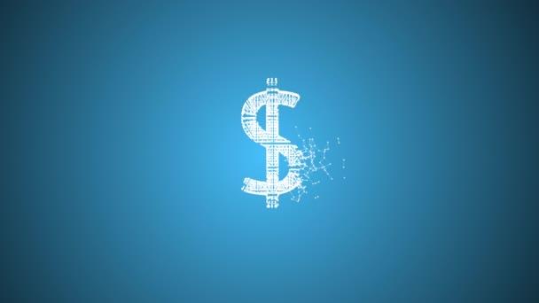 Egy dollár darabokra morzsolódik oldalról a kék háttér felett.