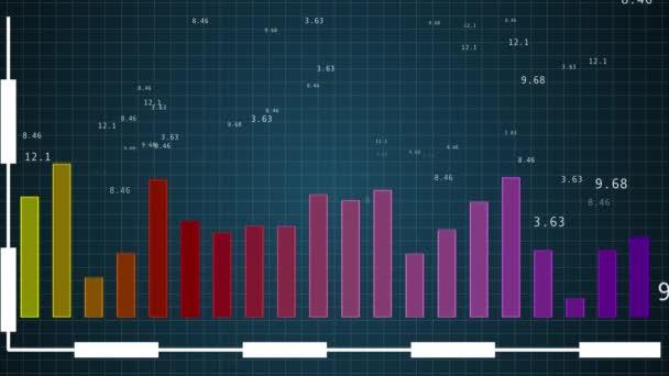 Pozadí aplikace Infographics s čísly a grafy zobrazujícími globální statistiky dat.