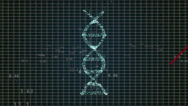 Animated presentation of infected dna cells rotating on black tech background with red arrow going down.