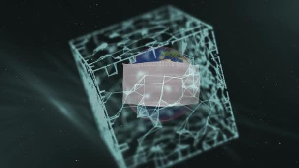 Realistic protective medical face mask over planet inside translucent cube shape over dark background.