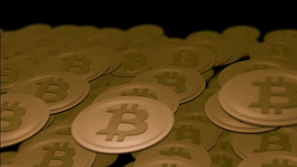 Pile of gold bitcoins on the black background.