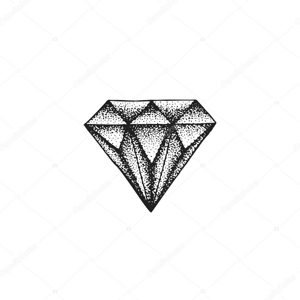 Tatuajes De Diamantes Blanco Y Negro Vector Mano Dibujada Diamante